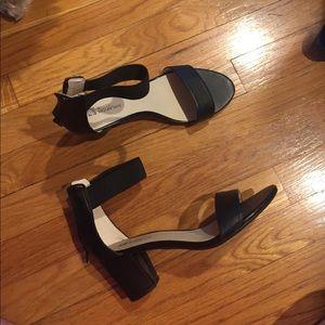 Black strappy sandal heels faux leather