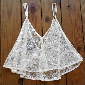 NWT LF Chandelier S open white lace flowy crop top