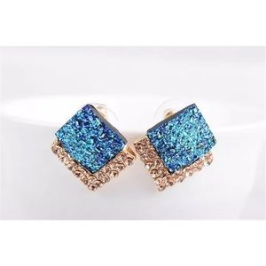🔷BLUE GEMSTONE & CRYSTAL DOUBLE SQUARE EARRINGS🔷