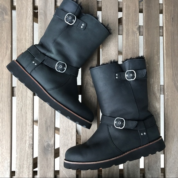 b8452cdc77a UGG Noira Leather Waterproof Biker Boots Size 8