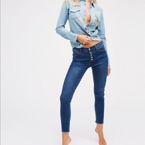 Free people Regan button front skinny jean