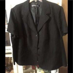 Lined black linen jacket