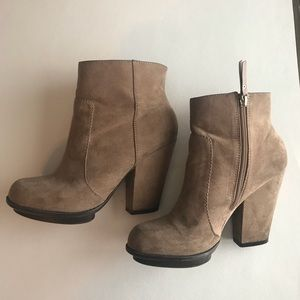 Zara Nude-Tan Ankle Booties Size 8