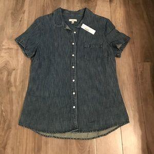 J. Crew jean button up shirt sleeve top