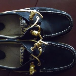 Sperry Top Sider Black Leopard Gold Shoes SZ 9