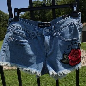Express low rise denim embroidered shorts