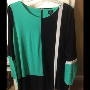 Teal/turquoise and black block tunic