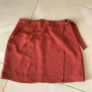 Forever 21 Burnt Orange Rust Pencil Wrap Skirt