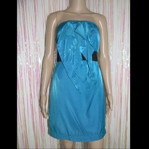 Teal Strapless Tier Dress 490