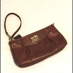 Coach Leather Large Brown Wristlet Clutch
