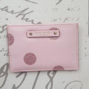 Kate Spade Glitter Pink Dot Card Wallet (NWOT)