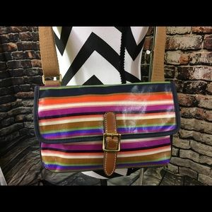 Fossil coated canvas striped cross body purse
