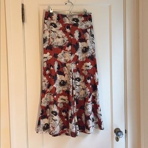 Zara silk floral printed culottes