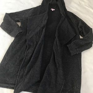 Juicy Couture Black Silver Shimmer Hooded Cardigan