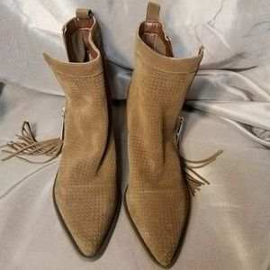 GUESS Suede Pointed Booties with Zipper