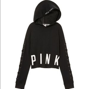 PINK cropped lace up pullover hoodie
