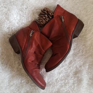 NWOT Fergie Red Leather Booties 8.5