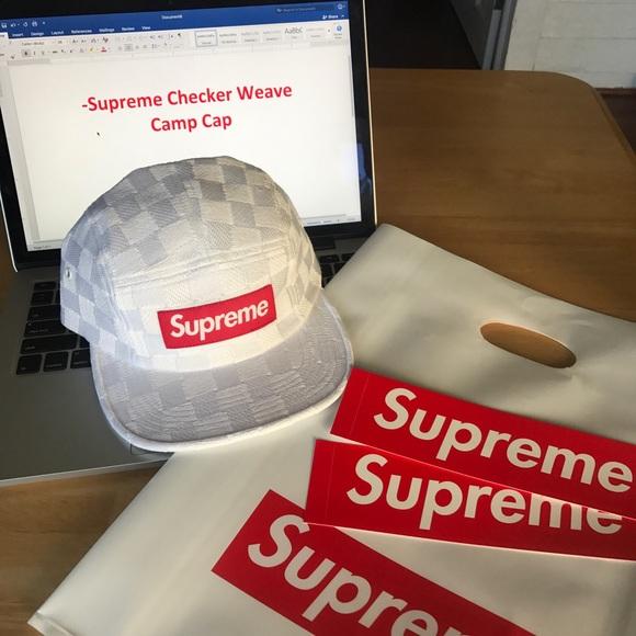 Supreme Checker Weave Camp Cap. NWT. Supreme.  117  130. Size 579ecfb3471d