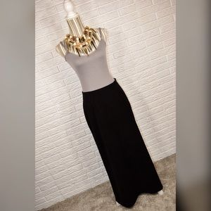 {vintage 90s tribal} Black Faux Suede Maxi Skirt