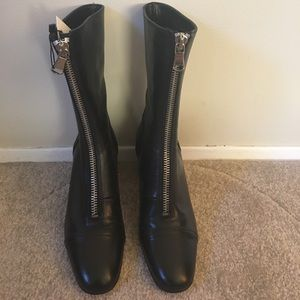 Brand New Zara Black Leather Boots, Low Heel