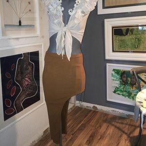 Suede asymmetric skirt