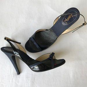 Midnight blue YSL 105mm open toe high heels