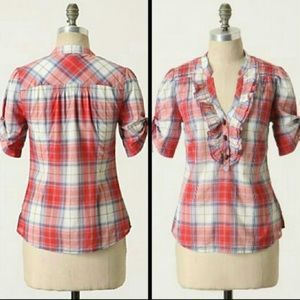 Anthropolgie Odille Plaid Button Short Sleeve Top