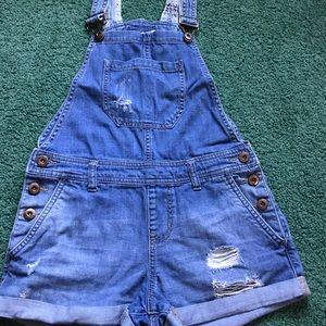 Women's XS Blue Jean Distressed Bib Overalls