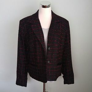 Black and red shimmery blazer