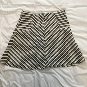 Loft black and white striped tweed skirt