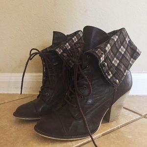 Forever 21 Heeled Lace Up Plaid Booties