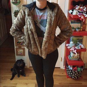 New faux fur fuzzy teddy bear jacket coat small