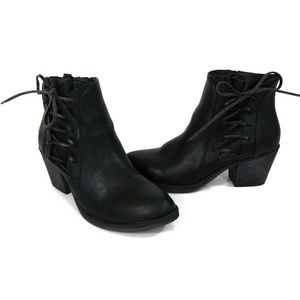 NWOB Black Tie & Zip Up Faux Leather Ankle Boots