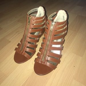 Material Girl Cognac Strappy Sandals