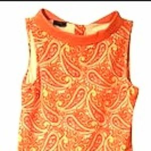 Orange Paisley Knee Length Dress, Tablots 10 P (M)