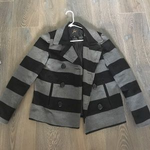 Striped grey and black Winter coat