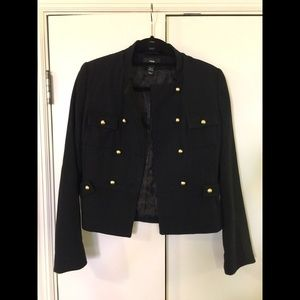 Wool Military Blazer with Gold Buttons