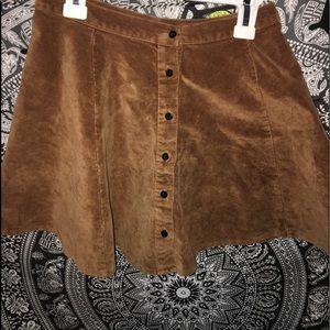 Brandy Melville Button Down Brown Corduroy Skirt
