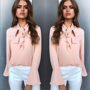 Tops - On trend bell sleeve tie from blouse