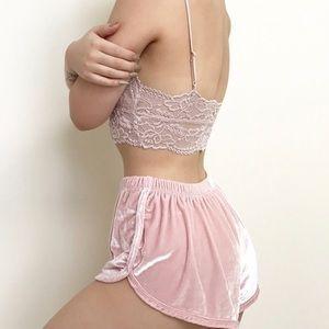 brandy melville baby pink velvet shorts