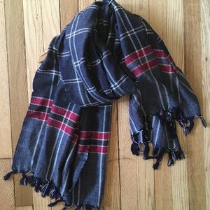 Anthropologie Oversize Plaid Scarf Navy/Gray/Red