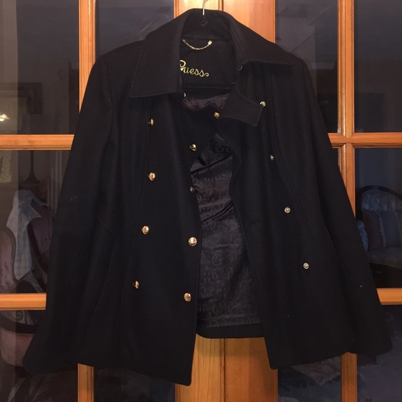 Guess wool winter peacoat in black gold buttons