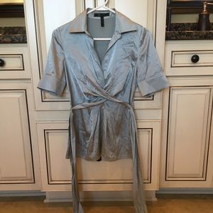 Blue silk short sleeve blouse from BCBG sz XS