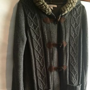 Old Navy long gray knit hooded sweater jacket-M