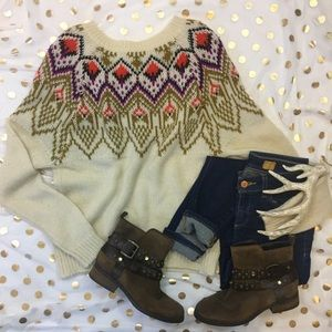 Forever 21 Fair Isle Knitted Neon Sweater Size S