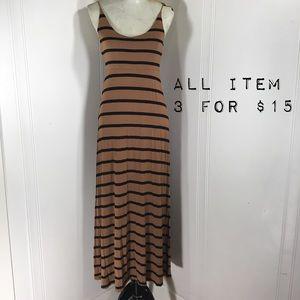 Forever 21 Coffee Striped Light Maxi Slip Dress