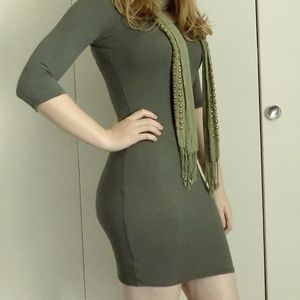 Soprano Bodycon Dress in Olive, Lace up back