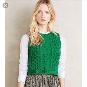 Moth Anthropologie Small Wool Crop Top Shirt Vest