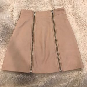Rose pink mast gal leather skirt
