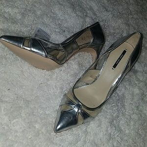 Zara Silver and Clear pumps.